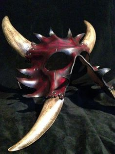 Leather demon mask. Each mask is made per order. The mask you will receive wont be exactly as shown but similar due to each piece I make is handmade.