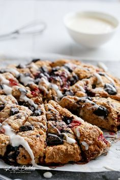 Mixed Berry and Chocolate Chunk Buttermilk Scones with a Cream Cheese Glaze