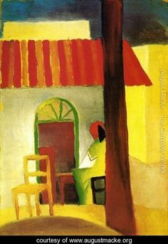 The Turkish Cafe by Expressionist Artist August Macke Counted Cross Stitch  or Counted Needlepoint Pattern 81064fcd55c3