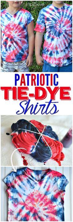 Easy Patriotic Tie-Dye Shirts - Holiday Shirts - Ideas of Holiday Shirts - Easy Patriotic Tie-Dye Shirts Blue Tie Dye Shirt, Diy Tie Dye Shirts, Diy Shirt, Diy Tank, July Crafts, Summer Crafts, Kids Crafts, Summer Fun, Holiday Crafts