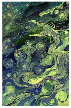 """""""The Dragon Yawned"""" by Laura Siadak    Acrylic and gold marker on Yupo paper."""