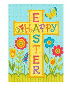Look at this #zulilyfind! 'Happy Easter' Cross Flag by Everything Doormats #zulilyfinds
