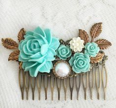 Seafoam Wedding Comb Turquoise Hair Accessories Bridal Comb Teal Romantic Flower…