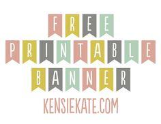 Free printable banner -Mint, peach, mustard, gray (grey)   kensie kate