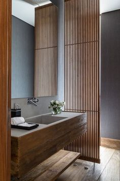 Contemporary Powder Room with Elmwood Antique Hickory Reclaimed Wood Flooring, MS International Golden Beaches Limestone