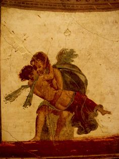 Amor and Psyche. Ancient Roman fresco (45-79 d.C.) from Pompeii, Italy. Museo archeologico nazionale (Naples).