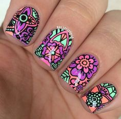 Neon reverse stamping nail art using MoYou plate