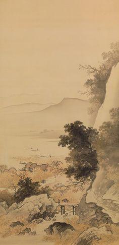 江村秋霽 The Autumn Sky Clearing over the Village by a River 大正2年(1913)3月 絹本着色 軸装 146.0×71.8cm