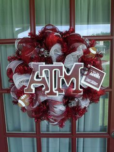 Texas AM Aggies Maroon And White Deco Mesh Door by CrazyboutDeco, $89.00