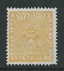 Sweden 1855, 8 Skilling Banco i Ostämplat. Facit 4EII(*)