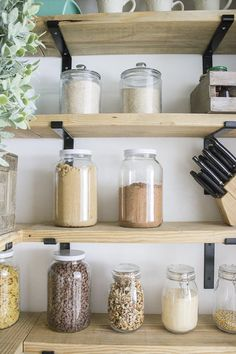DIY Organized Walk In Modern Farmhouse Butler's Pantry Makeover With Floating Shelves - Using Crate & Pallet, Home Depot Brackets Kitchen Pantry Storage, Kitchen Pantry Design, Small Pantry, Pantry Organization, Walk In Pantry, Pantry Ideas, Organizing, Organising Ideas, Pantry Room