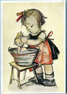 X7536 Postcard 4x6 Modern Hummel Girl Washing Doll