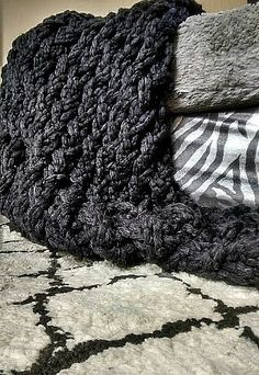Soft Arm Knit Blanket in Black Chunky knit throw $98 by TheSnugglery