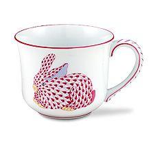 Herend Raspberry Mug With Bunny - Lux Bond & Green