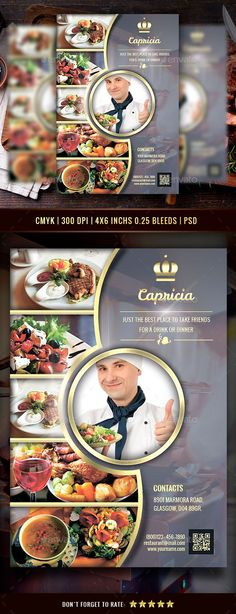 Create amazing flyers for your restaurant or cafe by customizing easy to use templates. Ready-made restaurant flyer templates and create awesome designs Flyer Restaurant, Restaurant Menu Design, Brochure Food, Brochure Layout, Photoshop, Pizza Flyer, Coffee Shop, Coffee Coffee, Graphic Design Brochure