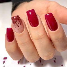 Cute Acrylic Nail Designs, Simple Acrylic Nails, Red Acrylic Nails, Red Nail Designs, Red Gel Nails, Glitter Nails, Cute Red Nails, Stylish Nails, Trendy Nails