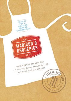 Calling all chefs! Announce your engaged couple's shower with these fun invites and get the pair ready to cut those apron strings, pronto! See 21 more invite ideas here: http://www.confettidaydreams.com/bridal-shower-invitation-ideas/ Couples Shower Invitation Ideas