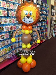 Around 6ft tall this lion balloon decoration is fabulous for kids parties or safari themed events. We use vibrant coloured balloons which offer a warm and friendly appearance.