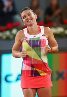 Simona Halep Photos - Simona Halep of Romania celebrates defeating Dominika Cibulkova of Slovakia in the final during day eight of the Mutua Madrid Open tennis tournament at the Caja Magica on May 2016 in Madrid, Spain. - Mutua Madrid Open - Day Eight Tennis Tournaments, Tennis Clubs, French Open, Wimbledon, Dominika Cibulkova, Rod Laver Arena, Wta Tennis, Simona Halep, Tennis Legends