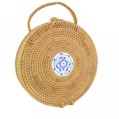 black Persevering Women Handmade Round Beach Shoulder Bag Circle Straw Bags Summer Woven Rattan Handbags Women Messenger Bags Bag Parts & Accessories