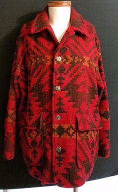 WOOLRICH Wool Woven Navajo Blanket Pattern Western Jacket Large USA Mens Indian #Woolrich #FieldCoat