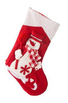 Červeno bílá dekorativní bota s bílým sněhulákem