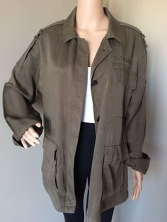 c7d16090903 FOREVER 21 Women s Lightweight Military Utility Coat Button Up Pockets Large