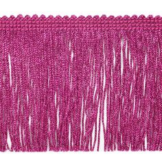 """4"""" Metallic Chainette Fringe Trim Fucshia from @fabricdotcom  This metallic fringe is a beautiful finishing touch on pillows, draperies, costumes and more. It features a 3/8'' header and 4'' long fringe."""