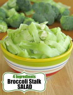 This raw Broccoli Stalk Salad has just 4 ingredients and is ready in minutes. We'll show you how to eat the broccoli stems too in this quick and easy recipe. Healthy Vegetable Recipes, Healthy Eating Recipes, Healthy Meal Prep, Vegan Recipes, Meatless Recipes, Vegan Meals, Free Recipes, Healthy Life, Healthy Food