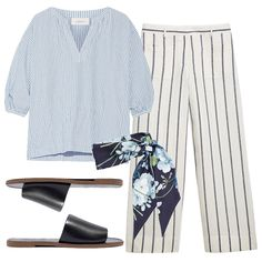 Pair a contrasting striped linen top and pants with minimal black leather slides and a printed scarf for backyard barbecues and poolside affairs.