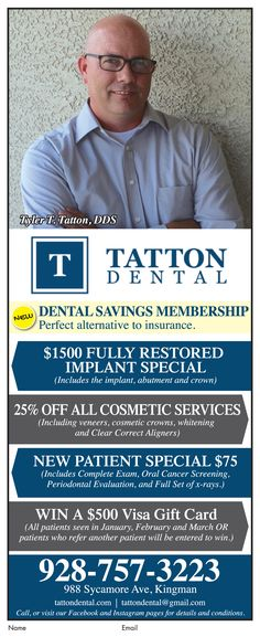 574e670e926 New  patient special only  75 at  TattonDental in Kingman. Call today to  schedule