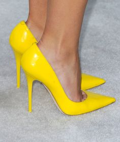 Brooklyn Decker's neon heels from Jimmy Choo