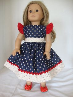 Handmade American Girl Doll Clothes, Red, White and Blue with Stars 4th of July Dress, Handmade 18 Inch Doll Clothes