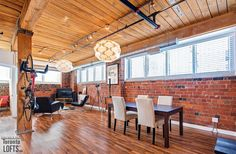 Feather Factory Lofts-2154 Dundas St W #107  | One-of-a-kind bright large authentic 1070 sf 2 bedroom SE corner loft with wrap around windows! | More info here: torontolofts.ca/feather-factory-lofts-lofts-for-sale/2154-dundas-st-w-107-1 Lofts, Feather, Corner, Bright, Windows, Bedroom, Table, Furniture, Home Decor