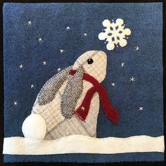 """Snow Bunny - Wool Kit--this is an 8"""" block kit--but wouldn't something similar make a great winter pillow"""