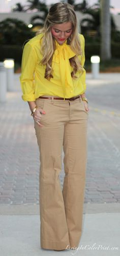 Camel + Yellow.  These are not man-khakis, by the way.  They are camel trousers. :)