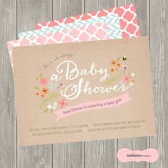 Baby Girl, Baby Shower, Invitation, Baby Boy, Birth Announcement, Personalized, Vintage Floral, Woodland, Bee, Kraft