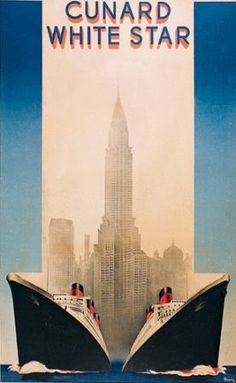 Cunard White Star New York - vintage poster