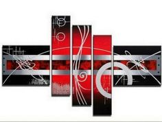 100% Hand Painted Artwork Red Abstract Art 5 Piece Wall Art Large Oil Painting Modern Art Canvas Art Gallery Wrapped Stretched and Ready to Hang by Paintingworld, http://www.amazon.com/dp/B00B9RCCRC/ref=cm_sw_r_pi_dp_YqcYrb08TD29K