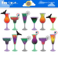 Halloween Cocktails Clipart set for Instant Download.    • Halloween Cocktails Clip Art Set.    • All Clip Art graphics are between 7-8