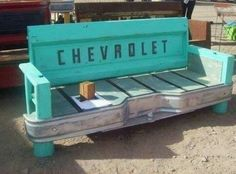 Old truck bed/tailgate turned into a bench :)