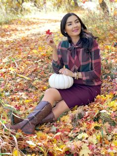 Fall plaid bow outfit