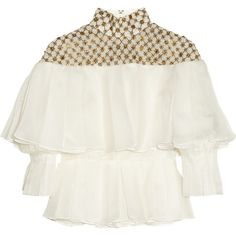 Alexander McQueen Embellished pleated silk-organza blouse (31.420.570 VND) ❤ liked on Polyvore featuring tops, blouses, alexander mcqueen, shirts, long sleeved, white long sleeve blouse, white long sleeve shirt, white embroidered blouse, embroidered shirts and white blouse