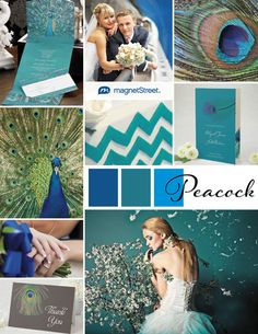 Brilliant blues and greens on this peacock wedding inspiration board. We all know how much I love this color palette! ;)