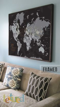 Extra large push pin map framed 30x45 inches world travel home framed map 30x45 inches world travel honeymoon vacation art travel map push pin travel gumiabroncs Gallery