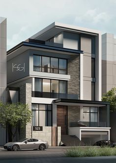 modern house design tips and features Modern House Facades, Modern Exterior House Designs, Modern House Plans, Modern House Design, Barn House Plans, Exterior Design, 3 Storey House Design, Bungalow House Design, House Front Design