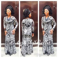Black & Grey Lace Dress & Black Sequined Aso-Oke Gele