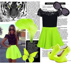 """""""I ♥ Neon Green Color.#"""" by maddie9119 ❤ liked on Polyvore"""