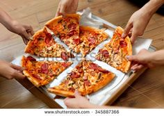 Eating Food. Close-up Of People Hands Taking Slices Of Pepperoni Pizza. Group Of Friends Sharing Pizza Together. Fast Food, Friendship, Leisure, Lifestyle. - stock photo