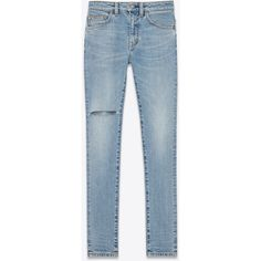 Saint Laurent Original Mid Waisted Skinny Jean ($785) ❤ liked on Polyvore featuring jeans, pants, bottoms, trousers, destructed skinny jeans, destroyed denim skinny jeans, blue skinny jeans, torn skinny jeans and skinny jeans